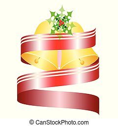 decorative Christmas bells with red ribbon vector