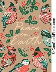 Decorative Christmas card with ornamental birds and...