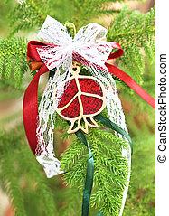 decorative Christmas pomegranate on tree