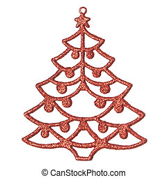 Decorative Christmas tree. On a white background.