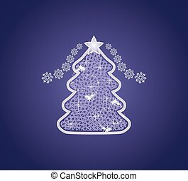 Decorative Christmas tree on the dark blue background
