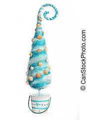 Decorative Christmas tree stylized sea on a white background