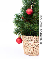 Decorative Christmas tree with baubles.