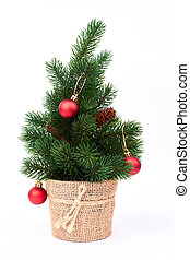 Decorative Christmas tree with red balls.