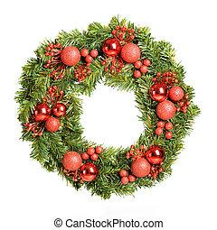 Decorative christmas wreath isolated on white background
