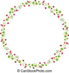 Decorative circle frame with branches and ladybirds