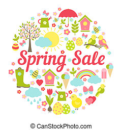 Decorative circular Spring Sale Sign with a busy vector ...