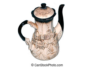 decorative coffee-pot on a white background