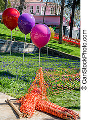 Decorative colorful balloons in the garden