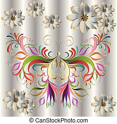 Decorative colorful butterfly. Vector design. Illustration.