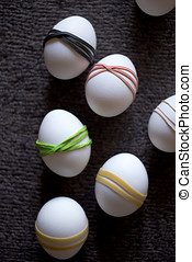 Decorative colorful decorations on Easter eggs
