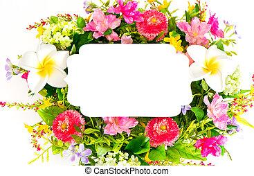 decorative colorful flower arrangement on white background