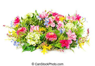 decorative colorful flower arrangement on white