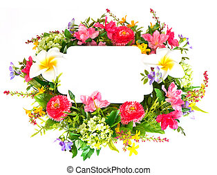 decorative colorful flower arrangement with blank card
