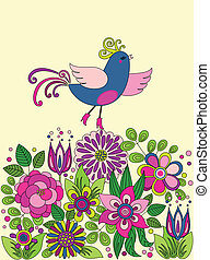Decorative colorful funny bird on the flowers
