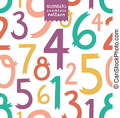 Decorative colorful numbers seamless pattern