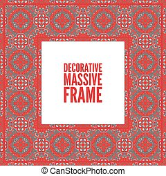 Decorative colorful square frame with lace ornament. Oriental style. Card template with place for logo and text. Vintage vector , red on black