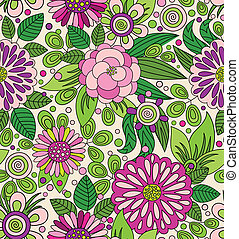 Decorative colourful picturesque seamless pattern - Bright...