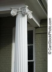 Decorative Column - Decorative column on porch of old house
