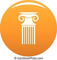 Decorative column icon vector orange