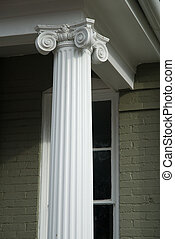 Decorative Column - Decorative column on porch of old house