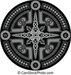 Decorative compass in Celtic style with ornament - a vector