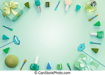 Decorative composition cosmetics gift perfume on a green background.