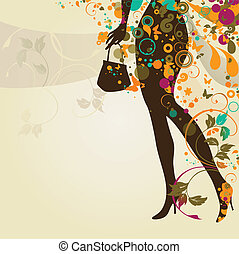 legs - decorative composition with girl`s legs and bag