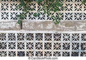 Decorative concrete blocks wall background