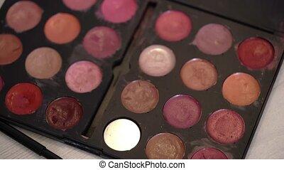 Decorative cosmetic pallete with lipsticks