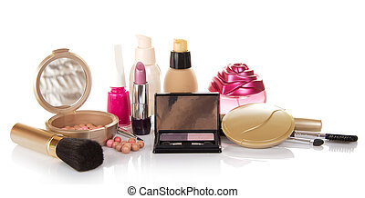 Decorative cosmetics, bottle of perfume and nail varnnish