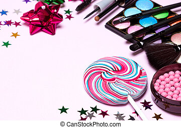 Decorative cosmetics for holiday party makeup