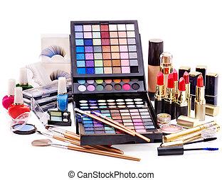 Decorative cosmetics for makeup. Close up.