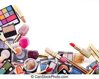Decorative cosmetics for makeup. Copy space.