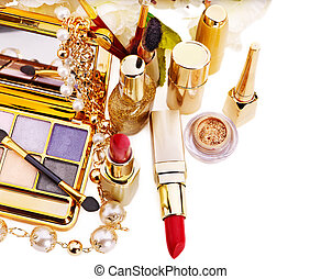 Decorative cosmetics for makeup. Isolated.