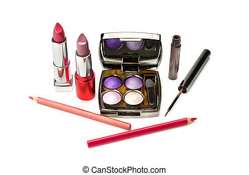 Decorative cosmetics Isolated on a white background.
