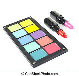 Decorative cosmetics isolated over white background. make up...