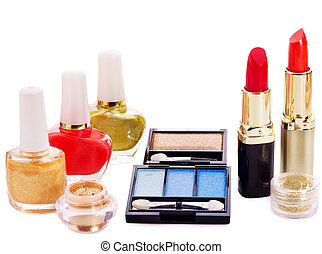 Decorative cosmetics. Isolated.