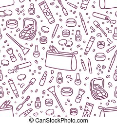 Decorative cosmetics outlined seamless pattern