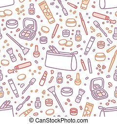 Decorative cosmetics seamless pattern
