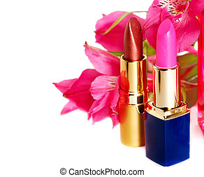 Decorative cosmetics with lipstick.