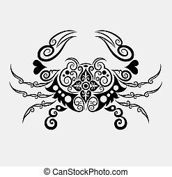 Crab with floral ornament decoration. Easy to edit color.