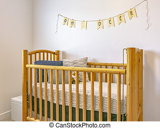 Decorative crib in model home