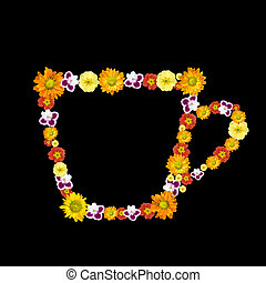 decorative cup symbol from color flowers