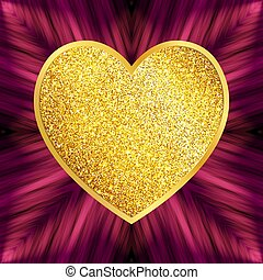 Decorative Design Element Heart of Golden Glitters Isolated on Pink Striped Background.