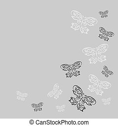 Decorative design element with butterflies