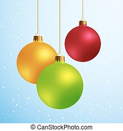 Decorative Design Elements Christmas Balls Isolated on Blue Snowy Background.