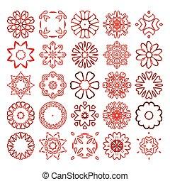 Decorative design elements. Circle ornament. Vector set.