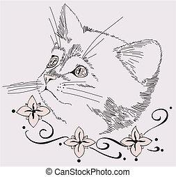 Decorative design with cat