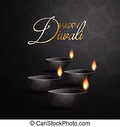 Decorative Diya lamp background for Diwali